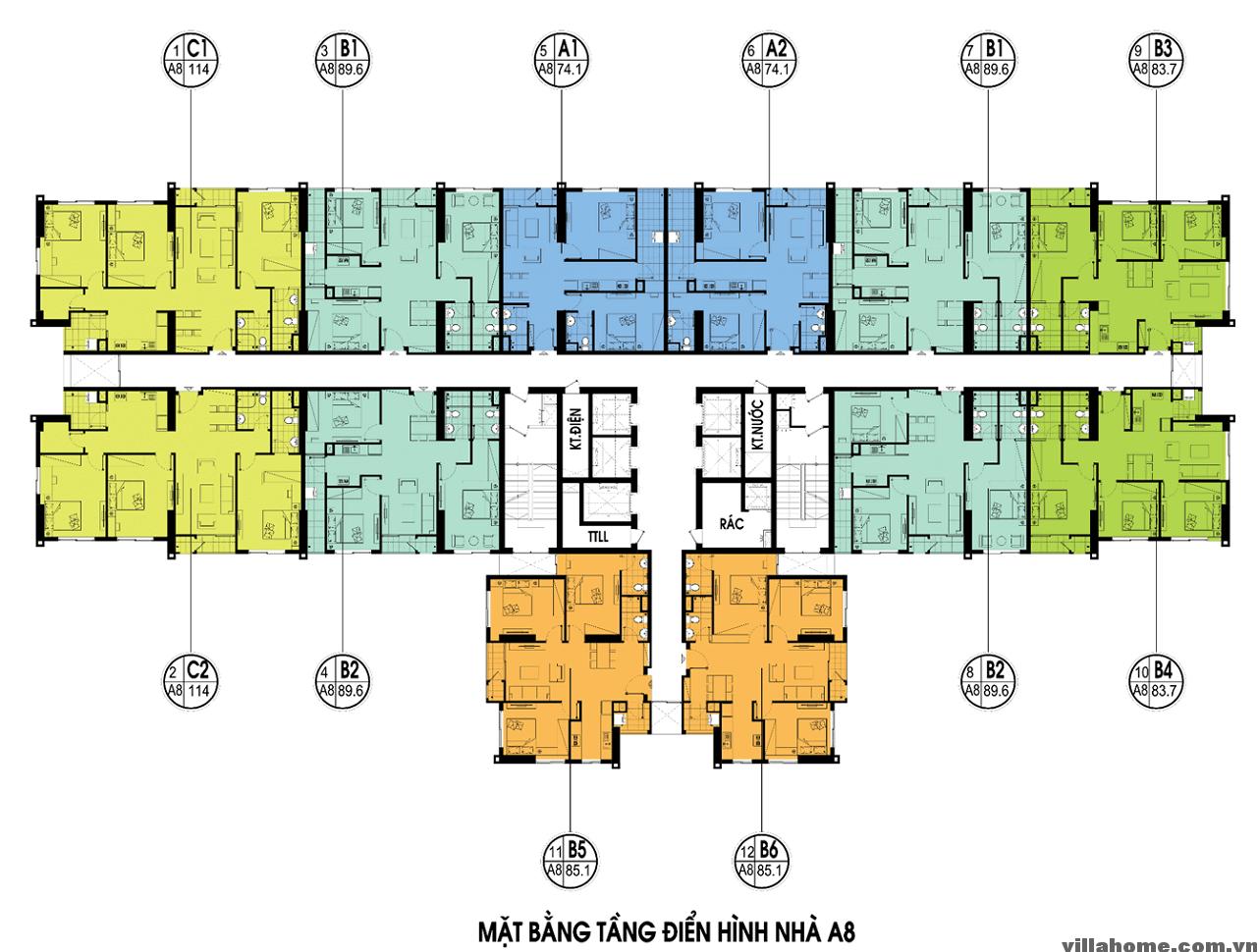 Mặt Bằng Tòa A8 - An Bình City